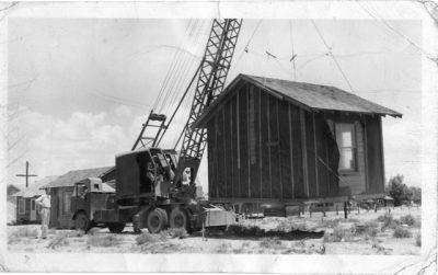 John Landino operating a crane in Hawthorne Nv in the 1940s.