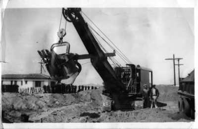 John Landino operating an old cable shovel.